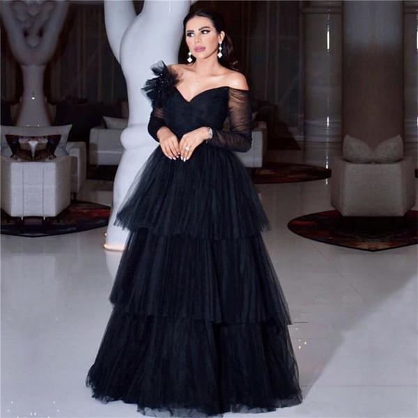 Wangyandress noir, arabe chérie A-ligne Robes de soirée à manches longues à volants longueur de plancher longue Prom Party Robes