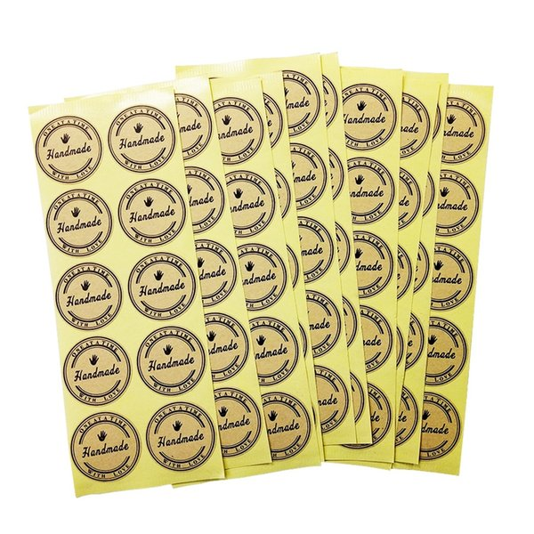 500 Pcs/lot Kraft Handmade With Love Sticker Round Gift Seal Label Stickers For Handmade Products With A Cute Hands