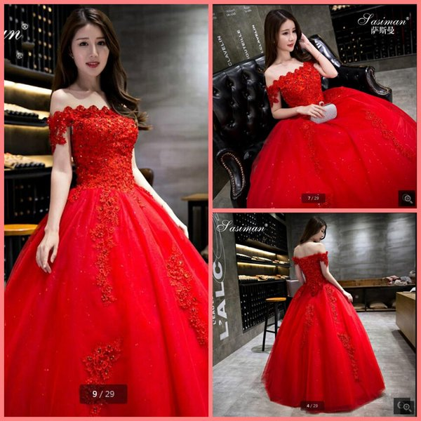 New arrival Red Wedding Dresses 2019 Ball Gowns off the Shoulder Empire Corset Pregnant Wedding Gowns Beading Lace Bridal Dresses Casamento