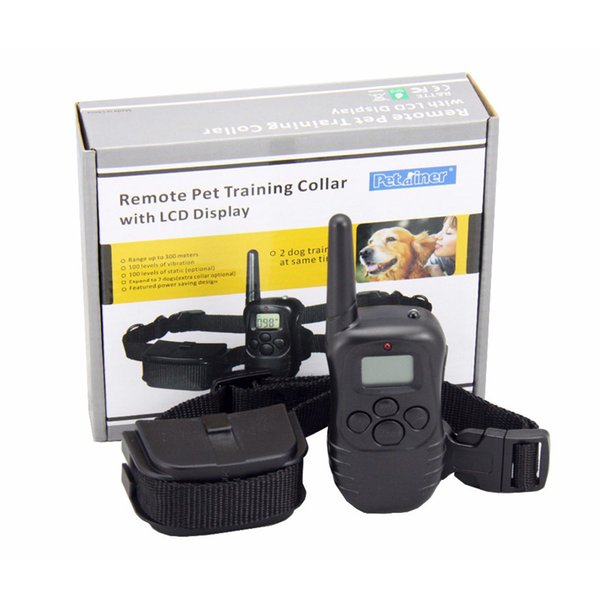 Petrainer PET988D Remote LCD 100LV 300M l Electric Shock Vibration Remote Anti Bark Pet Dog Training Collar T200101