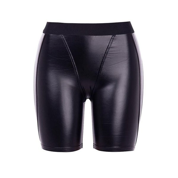 Women Shorts Casual PU Sexy Club Punk Hip Hop Summer Skinny Thin Solid Black Gothic Office Lady Female Fashion Goth Shorts