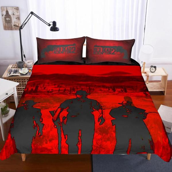 Red Dead Redemption 2 Bedding Children 3D Bedding Sets Twin/Full/Queen Size Cartoon Children Steve Kids Bed Sets