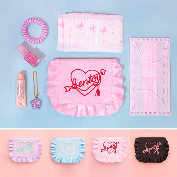 Bentoy Marke frischen Stil Frauen Tag Kupplungen Stickerei Herz Mini Handtasche Stoff Rüschen kleine Tasche Geldbörse Damentasche