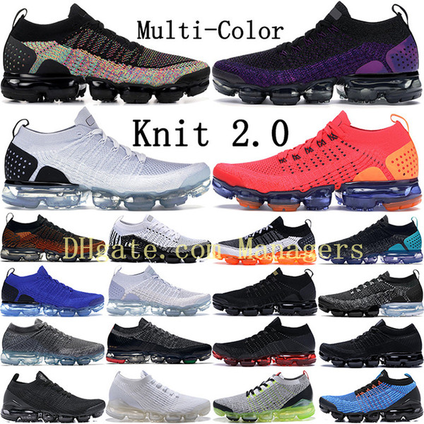 best selling New Fly 2.0 Black Multi-Color Running Shoes Men Women Midnight Purple Bred Triple Black Volt White Zebra BHM Orca Knit Sneakers Trainers