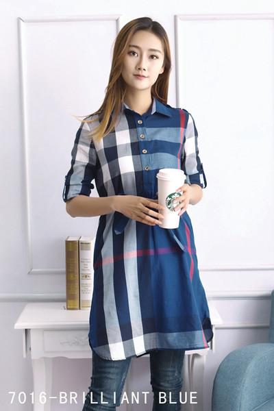 19ss venda quente nova colisão a cor lapela designer de vestidos das mulheres de moda clássico verificado impressão mulheres mangas compridas vestidos camisa casual vestidos