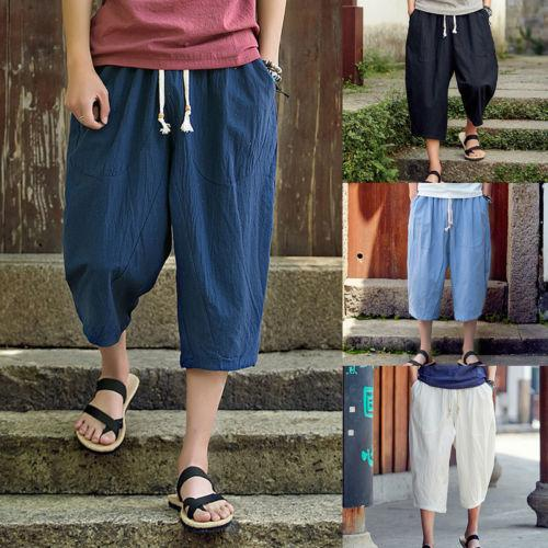 Thefound 2019 Brand New Mens Leinen Baumwolle Leichte Plain Casual Sommer Elastische Coole Hosen