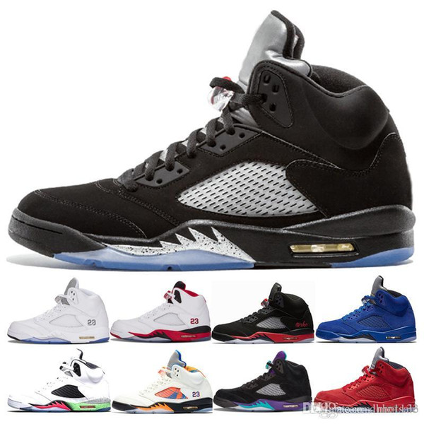 Zapatillas de baloncesto 5 5s OG Black Metallic de alta calidad para hombre 5s Black Grape Oreo Red Suede Metallic Silver International Flight Sneakers 41-47