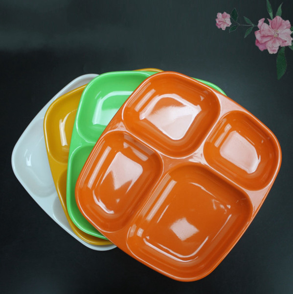 4 Grid Plates Melamine School Canteen Meal Tray for Buffet Dish Snack Plastic Imitation Porcelain Tableware