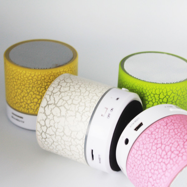 Mini portable A9 crackle texture Bluetooth Speaker with LED light can insert U disc cell phone player with retail box