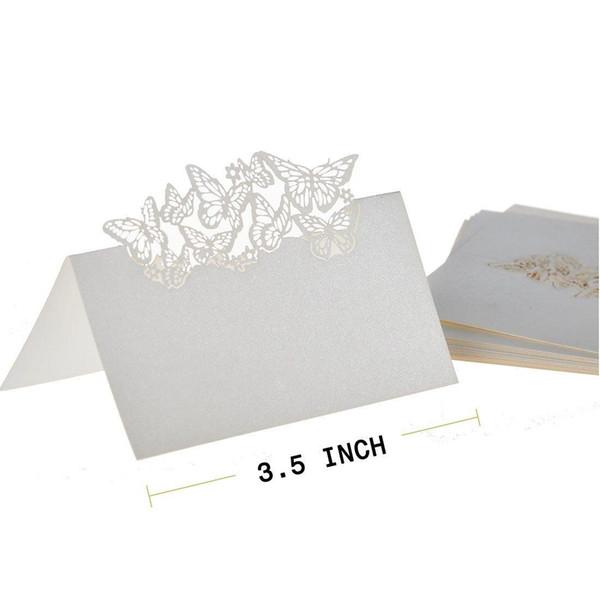 Wholesale-50 Butterflies Laser Cut Name Place Wedding Guest Table Wedding Party Invitation Romantic Cards Decor Favors Wedding Supplies