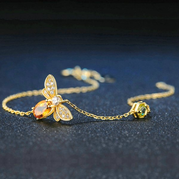 Bee 5X7mm 100% Natural Oval Citrine 925 Sterling Silver Jewelry Gold-color Chain Charm Bracelet S925 Necklace Earrings Ring