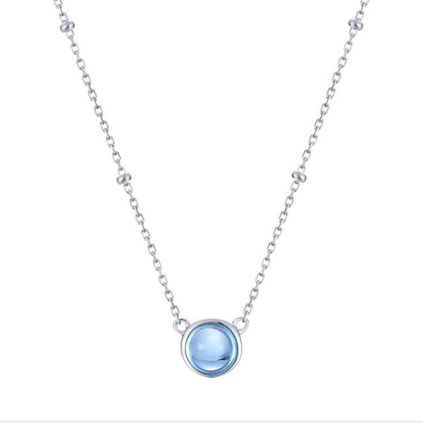 New Design 925 Silver Natural Blue Topaz Gemstone Pendant Necklace Female Sterling silver Chain Women Jewelry
