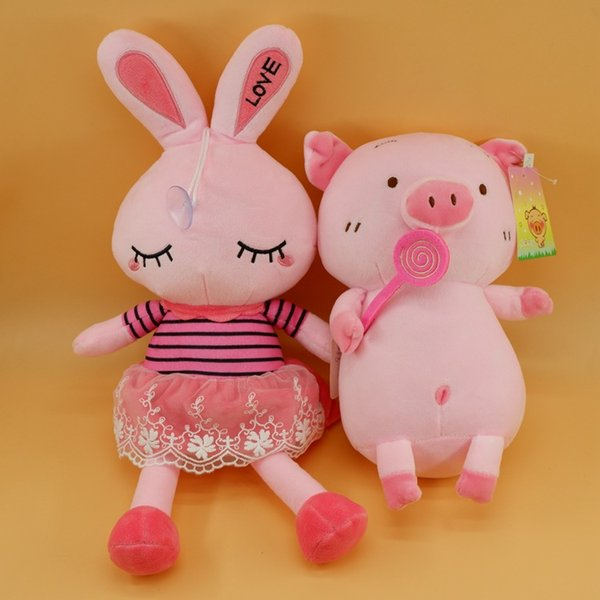 Lovely Easter Rabbit 15 Inch High Quality Cartoon PP Cotton Plush doll Cute Rabbit and Pink Pig Doll Toys Soft Animals Stuffed Gifts