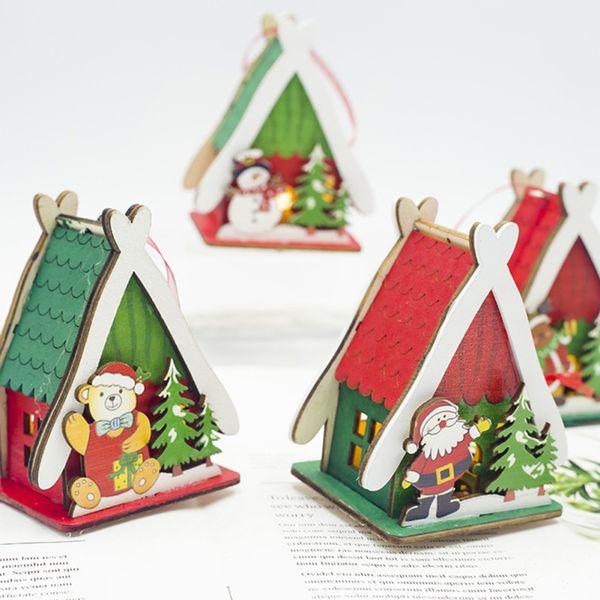 Père Noël Maison en bois Mini modèle Hanging Décor Décorations d'arbre Décorations de Noël pour enfants Accueil Cadeaux mignons