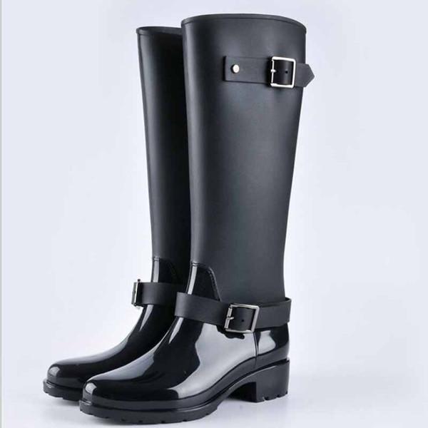 Compre Punk Style Zipper Tall Boots Botas De Lluvia De Color Puro Para Mujer Zapatos De Goma De Agua Para Exterior Para Mujer 36 41 Tallas Grandes A