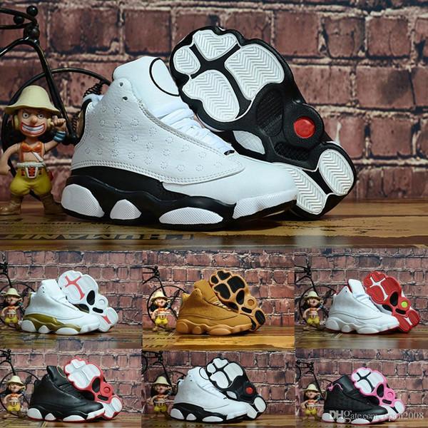 13 enfants chaussures de basket-ball rose blanc Amour Respect Noir Hyper Bleu Royal Bordeaux Blé jeunesse Olive garçon fille enfants 13s eur28-35 c4