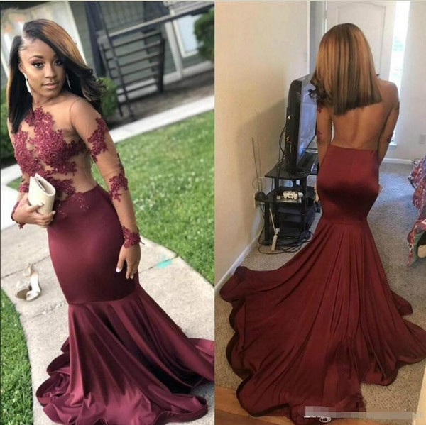 New Arrival Burgundy Prom Dresses Long Sleeve Sheer Illusion Top Jewel Neck Backless Long Evening Gowns