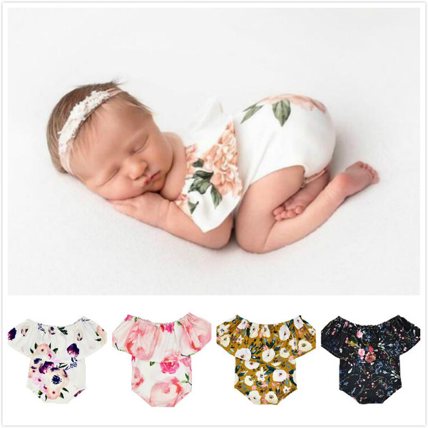 Baby Girl Photography Props Infant Cute Newborn Off Shoulder printing Romper Bodysuit Pictures Clothing Monthly Photo Shoot Outfits