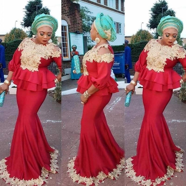Aso Ebi African Red Prom Dresses Mermaid Black Girls 3/4 Long Sleeves Peplum Evening Gowns With Gold Appliques Formal Party Gowns latest