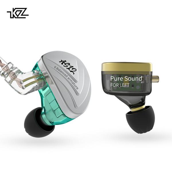 KZ AS12 6BA-Antriebseinheiten In-Ear-Kopfhörer 6 HIFI-Monitoring-Kopfhörer mit symmetrischem Anker und abnehmbarem 2PIN-Kabel KZ AS16