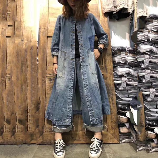 new coat women loose casual trench jacket for women denim windbreaker patch pocket long coats female 2019 autumn outwear an003