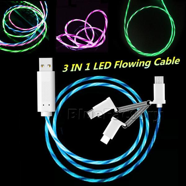 3 em 1 LED Flowing Charger Cable 1 m 3ft Micro USB Tipo-C Sincronização de Dados de Iluminação Led Light Up Luminosa Cabo para Samsung Android Telefone Inteligente
