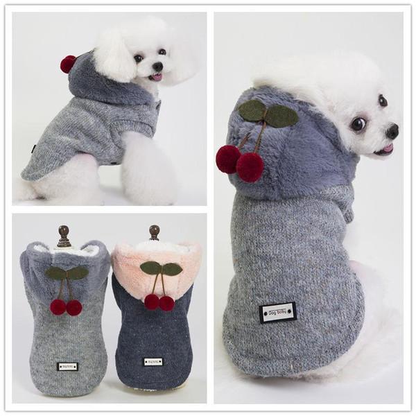 Köpekler Için köpek Hoodies Pet Giyim Coat Ceketler Pamuk Köpek Giysileri bebek pet giyim giyim sonbahar ve kış küçük kiraz ceket