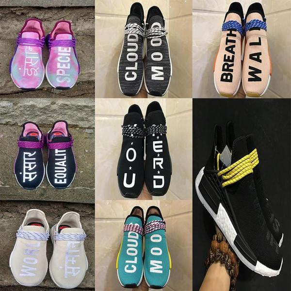 2018 New Human Race Trail Running Schuhe Kern schwarz holi Männer Frauen Pharrell Williams Runner Gleichheit Holi Blank Canvas Sportschuhe Schuh