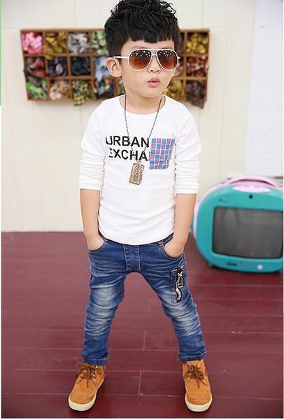 2019IENENS Primavera Crianças Meninos Magro Hetero Jeans Moda criança quebrado Buraco Calças Roupa crianças Boy Denim Trousers