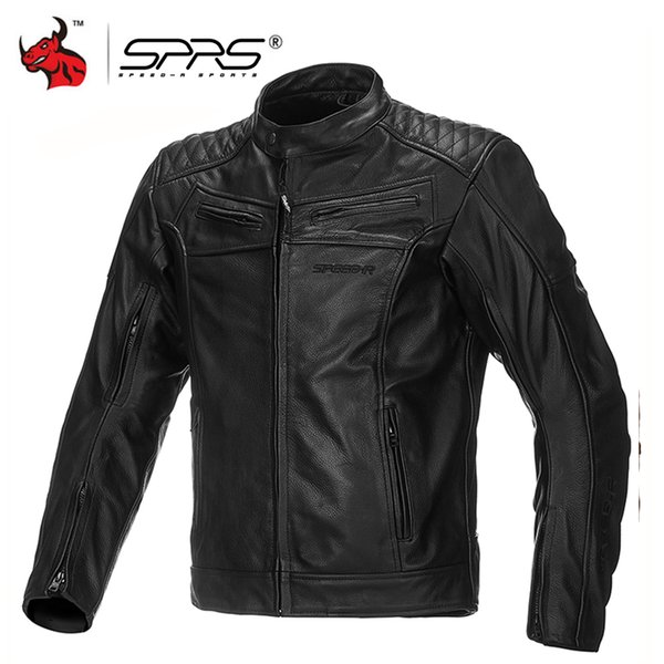 SPRS Motorcycle Jacket Men Leather Moto Jackets Windproof Waterproof Motocross Jacket Protective Gear Black Motorcycle Clothing