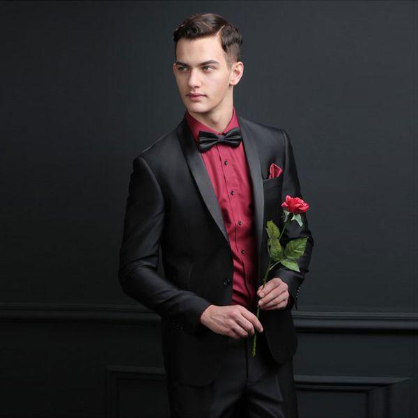 Black Satin Groom Tuxedo Men Suits for Wedding Man Blazer Custom Made Costume Homme Slim Fit Groomsmen Wear Groom Tuxedo Prom Party 2Piece