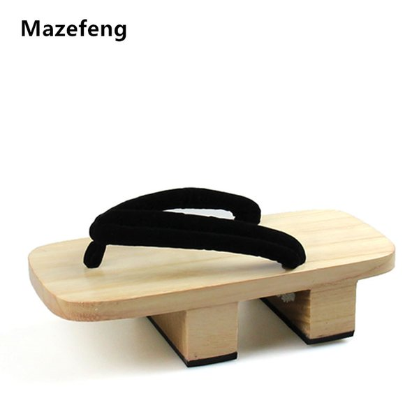 Mazefeng Solid Heel Flip-flops Men platform sandals Japanese Geta Clogs Wooden Men Slippers cosplay shoes Geta Clogs