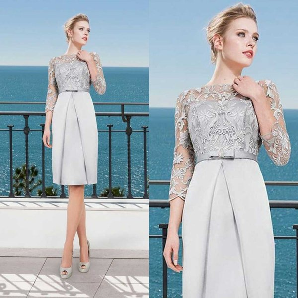 Elegant Lace Top Mother Of Bride Dresses Plus Size Mothers 3/4 Long Sleeve  Evening Gowns Knee Length Wedding Guest Dress Mother Of The Bride Wedding  ...