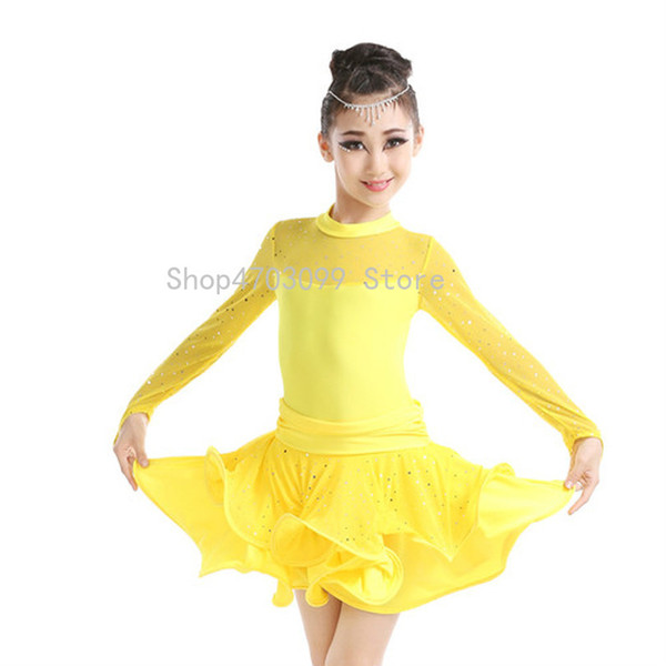 2019 new models New Arrival Professional Girls High Neck Sequin Latin Dress Child Kids Mesh Long Sleeve Sexy Performance Dance