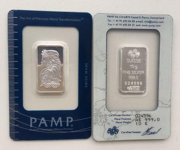 10 Gram PAMP Silver Bar