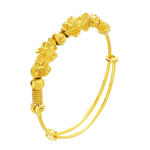 wholesale european fashion woman girl party birthday wedding gift vintage pixiu animals 18kt gold bangles bracelets be63