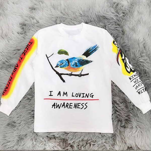 Kanye West Bird And Skulls Graffiti Printing Sweatshirts Long Sleeves 2019 Good Quality Men Hip Hop Cotton Tees