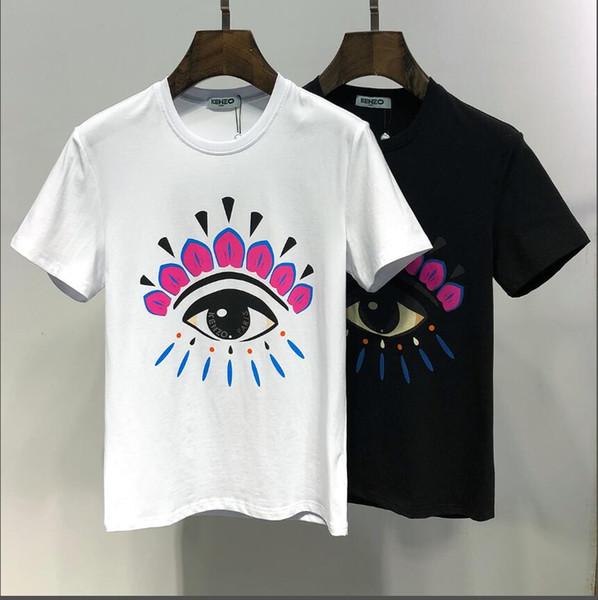 2019 Verano Nueva Llegada Ropa de Diseñador de Calidad Superior de Los Hombres Camisetas de Mujer Ojos de Tigre Imprimir Camisetas Bordadas M-3XL 6601