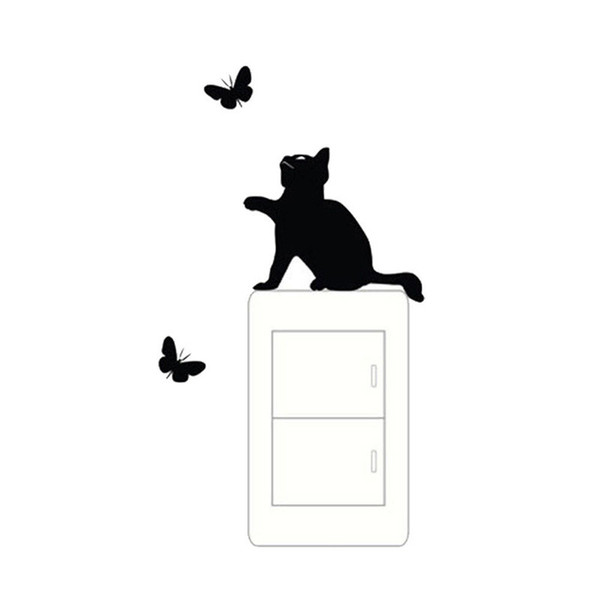 Cat And Butterfly Switch Stickers Vinyl Art Deco Wall Stickers