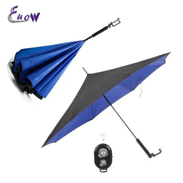 Folding Double Layer Inverted Umbrella Out Rain Protection Umbrella with Wireless Bluetooth Autodyne Selfie Stick Handle