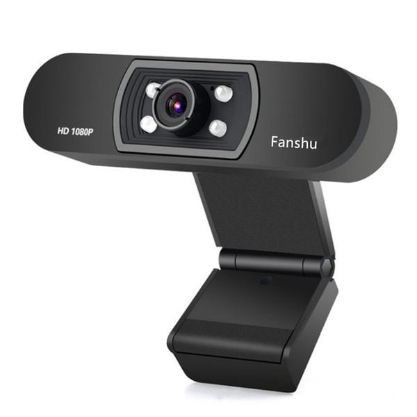 Fanshu USB 2.0 Web Cámara digital Full HD 1080P Cámara web con micrófono Clip-on 2.0 Megapixel CMOS Web Cam para computadora PC Laptop