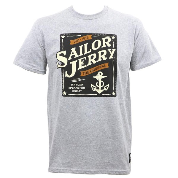 SAILOR JERRY Tattoo Our Seal Logo Grey Heather Slim Fit T-Shirt S-3XL NEW Print T Shirt Men Summer Style Fashion Top Tee