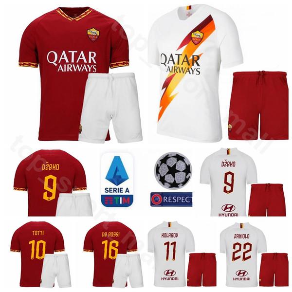 19/20 Futebol AS Roma 10 Francesco Totti Jersey Conjunto 9 Edin Dzeko 8 Daniele De Rossi Bryan Cristante Camisa De Futebol Kits Uniforme