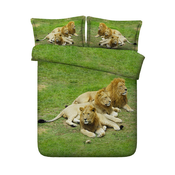 3 Pieces Duvet Cover Set Comforter Quilt Bedding Cover With Zipper Closure Wildlife Tiger Leopard Bed Spread Lion Boys Girls 3D Bedding Sets