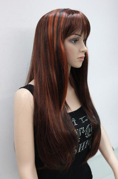 Free shipping>>>New Hot Fashion Beautiful auburn and red mix long Straight hair wig