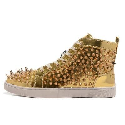 Fashion Designer Brand Studded Spikes Flats shoes Red Bottom Shoes For Men and Women Party Lovers Genuine Leather Sneakers 35-46 #367