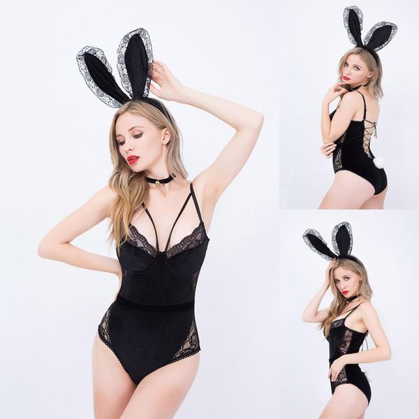 Bunny Kız Cosplay Seksi Iç Çamaşırı Yeni Üniforma Suit Cosplay Sıkı oturan Parti Parti Rol oynama Onesies Tavşan Kulakları Asılı Boyun Halkası