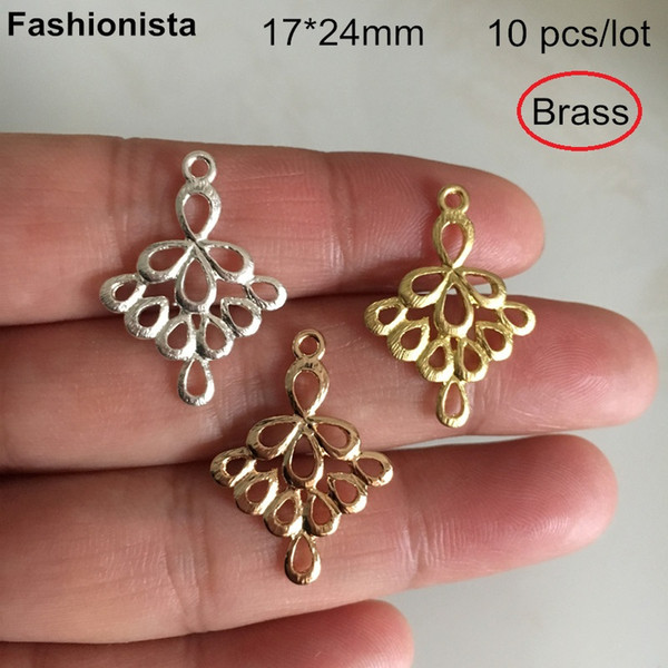 10 pcs Brass Filigree Chandelier Charms 17*24mm,Ballet Skirt Shaped Brass Charms,Gold-color,Silver-color,DIY Jewelry Supplies