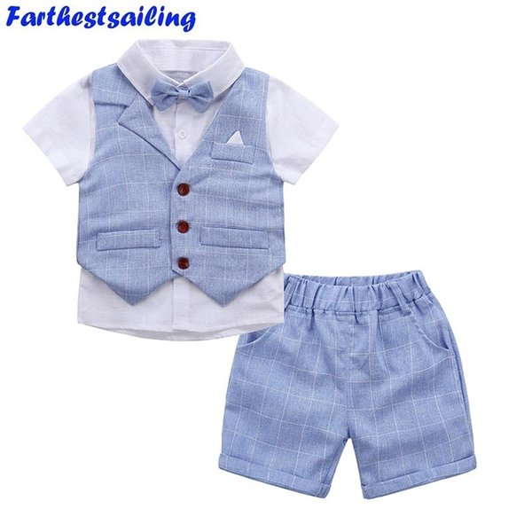 Baby Boys Clothing Sets 2018 New Summer Children Formal Wear Short Shirt + Plaid Waist Coat + Shorts Kids 3pc Suits Baby Clothes MX190803