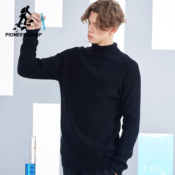 Pioneer Camp new turtleneck men brand clothing autumn winter solid sweater male top quality warm pullover men AMS802301